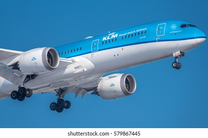 Schiphol, Noord-Holland/Netherlands -February 15-02-2017- Airplane or aeroplane from  Boeing 787 Dreamliner. Aviation is a massive industry involving the transport of passengers daily on airliners.