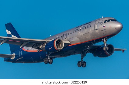 Schiphol, Noord-Holland/Netherlands -February 15-02-2017- Airplane from Russian Airlines (Aeroflot) Commercial aviation is a massive industry involving the transport of passengers daily on airliners.