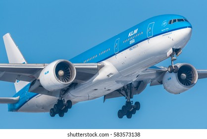 Schiphol, Noord-Holland/Netherlands -February 15-02-2017- Airplane from KLM Asia Boeing 777-200, PH-BQI. Aviation is a industry involving the transport of passengers daily on airliners.