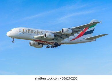 Schiphol, Noord-Holland/Netherlands - January 18-01-2016 - Airplane Emirates A6-EOO Airbus A380-800 is landing at Schiphol airport. The plane is flying to the runway.