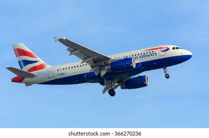 Schiphol, Noord-Holland/Netherlands - January 18-01-2016 - Airplane  British Airways G-DBCJ Airbus A319-100 is landing at Schiphol airport. The plane is flying to the runway.