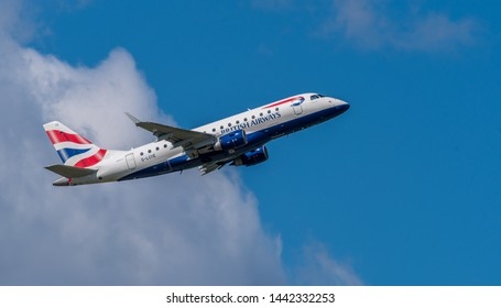 Schiphol, Noord-Holland/Netherlands - Jul 02-07-2019 - Commercial airplane from British airways, G-LCYE, Embraer ERJ-170  is leaving Schiphol airport. The plane is flying to the next destination.