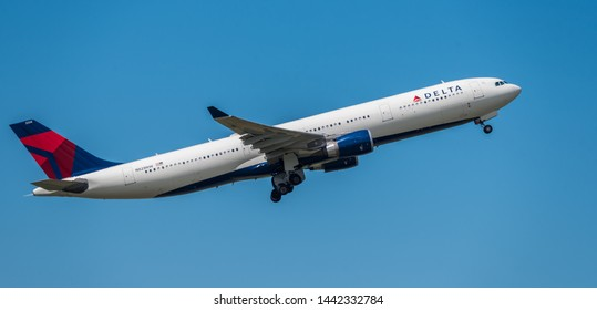 Schiphol, Noord-Holland/Netherlands - Jul 02-07-2019 - Commercial airplane from  Delta Air Lines, N828NW,   Airbus A330-300 is leaving Schiphol airport. The plane is flying to the next destination.