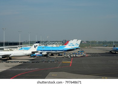Schiphol,Amsterdam,north-holland,netherlands july 2016: Planes moving and parking at Schiphol