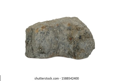 schist rock isolated on white background. Schist is a medium-grade metamorphic rock formed from mudstone or shale.