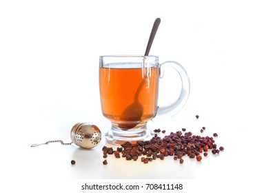 Schizandra tea with dried berries. Schisandra chinensis is considered in the Chinese Medicine as one the 50 fundamental herbs and known as Wu Wei Zi.