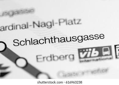 Schlachthausgasse Station. Vienna Metro map.