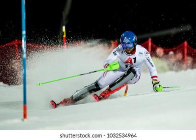 Schladming, Austria, 23/01/18, Sport, winter sports, AUDI FIS SKI WORLD CUP THE NIGHTRACE. SCHWARZ Marco (AUT).