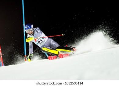 Schladming, Austria, 23.1.2018, Sport, , AUDI FIS SKI WORLD CUP THE NIGHTRACE.  GRANGE Jean-Baptiste (FRA).