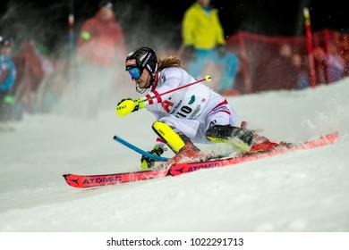 Schladming, Austria, 23.1.2018, Sport, Fussball, AUDI FIS SKI WORLD CUP THE NIGHTRACE. Image shows FELLER Manuel (AUT).