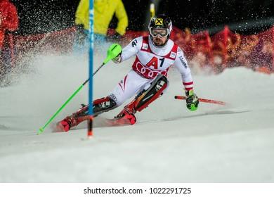 Schladming, Austria, 23.1.2018, Sport, Fussball, AUDI FIS SKI WORLD CUP THE NIGHTRACE. Image shows HIRSCHER Marcel (AUT).