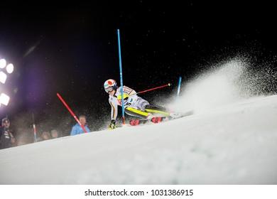 Schladming, Austria, 23.1.2018, Sport, Fussball, AUDI FIS SKI WORLD CUP THE NIGHTRACE. STRASSER Linus (GER).