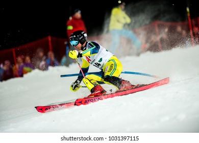 Schladming, Austria, 23.1.2018, Sport, Fussball, AUDI FIS SKI WORLD CUP THE NIGHTRACE.  HARGIN Mattias (SWE).