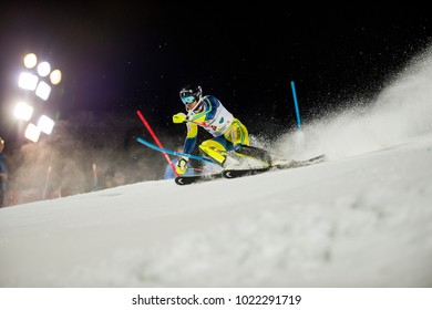 Schladming, Austria, 23.1.2018, Sport, Winter sports, AUDI FIS SKI WORLD CUP THE NIGHTRACE.  Image shows MYHRER Andre (SWE).