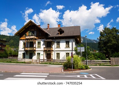 SCHLADMING, AUSTRIA - AUGUST 15: Traditional houses on streets of former mining town on August 15, 2017 in Schladming, Austria.