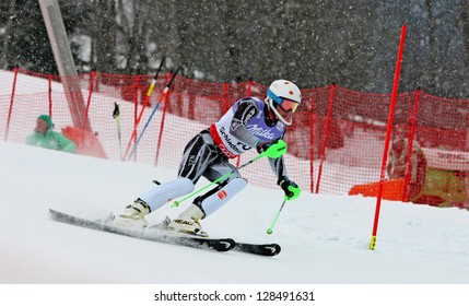 SCHLADMING, AUSTRIA - FEBRUARY 16: BARWOOD Adam (NZL) competing in FIS Alpine World Ski Championship Men's Slalom on February 16, 2013 in Schladming, Austria.