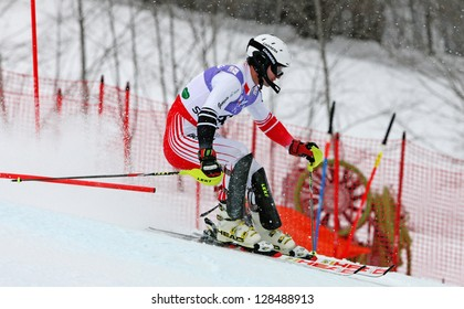 SCHLADMING, AUSTRIA - FEBRUARY 16: BENIAIDZE Alex (GEO) competing in FIS Alpine World Ski Championship Men's Slalom on February 16, 2013 in Schladming, Austria.