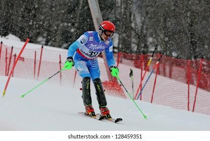 SCHLADMING, AUSTRIA - FEBRUARY 16: BIRKER KETELHOHN Jorge F. (ARG) competing in FIS Alpine World Ski Championship Men's Slalom on February 16, 2013 in Schladming, Austria.