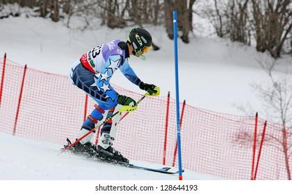 SCHLADMING, AUSTRIA - FEBRUARY 16: CHAKER Michael (LIB) competing in FIS Alpine World Ski Championship Men's Slalom on February 16, 2013 in Schladming, Austria.