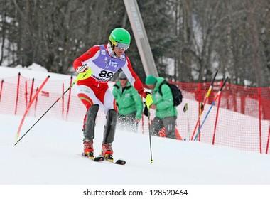 SCHLADMING, AUSTRIA - FEBRUARY 16: DANILOCHKIN Yuri (BLR) competing in FIS Alpine World Ski Championship Men's Slalom on February 16, 2013 in Schladming, Austria.