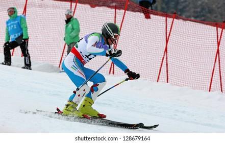 SCHLADMING, AUSTRIA - FEBRUARY 16: EGEMBERDIEV Safar (UZB) competing in FIS Alpine World Ski Championship Men's Slalom on February 16, 2013 in Schladming, Austria.