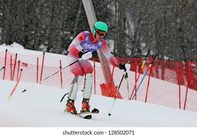SCHLADMING, AUSTRIA - FEBRUARY 16: FAARUP Christoffer (DAN) competing in FIS Alpine World Ski Championship Men's Slalom on February 16, 2013 in Schladming, Austria.