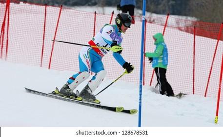 SCHLADMING, AUSTRIA - FEBRUARY 16: JUNUSOV Anvar (UZB) competing in FIS Alpine World Ski Championship Men's Slalom on February 16, 2013 in Schladming, Austria.