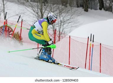 SCHLADMING, AUSTRIA - FEBRUARY 16: LONGHI Jhonatan (BRA) competing in FIS Alpine World Ski Championship Men's Slalom on February 16, 2013 in Schladming, Austria.