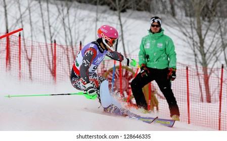 SCHLADMING, AUSTRIA - FEBRUARY 16: PARK Hyun (KOR) competing in FIS Alpine World Ski Championship Men's Slalom on February 16, 2013 in Schladming, Austria.