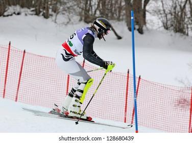 SCHLADMING, AUSTRIA - FEBRUARY 16: TRELEVSKI Dmitry (KGZ) competing in FIS Alpine World Ski Championship Men's Slalom on February 16, 2013 in Schladming, Austria.