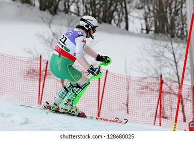 SCHLADMING, AUSTRIA - FEBRUARY 16: VON HOHENLOHE Hubertus (MEX) competing in FIS Alpine World Ski Championship Men's Slalom on February 16, 2013 in Schladming, Austria.