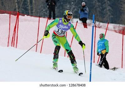 SCHLADMING, AUSTRIA - FEBRUARY 16: WILLIAMS Michael Elliott (JAM) competing in FIS Alpine World Ski Championship Men's Slalom on February 16, 2013 in Schladming, Austria.