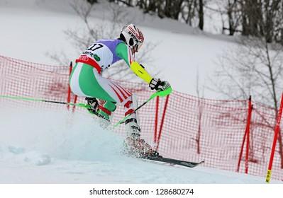 SCHLADMING, AUSTRIA - FEBRUARY 16: YUDZIN Viacheslau (BLR) competing in FIS Alpine World Ski Championship Men's Slalom on February 16, 2013 in Schladming, Austria.