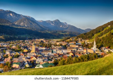 Schladming in the Austrian Ennstal in Styria during summer and autumn time. Cityscape view during evening light.