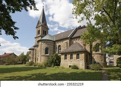 Schledehausen, Roman Catholic St. Laurentius Church of 1897, Osnabrueck country region, Lower Saxony, Germany, Europe
