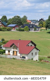 Schleiden, Germany - July 21, 2017 - Beautiful houses in german Eifel