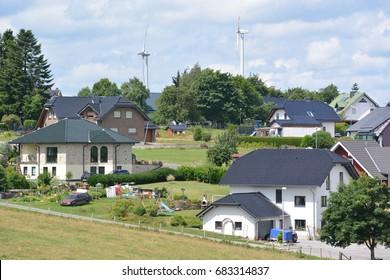 Schleiden, Germany - July 21, 2017 - Beautiful houses in german Eifel