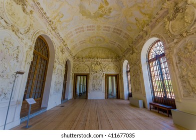 Schleissheim, Germany - July 30, 2015: Inside main palace building, rooms with incredible paintings, decorations, details and ornaments in true european traditional architecture.