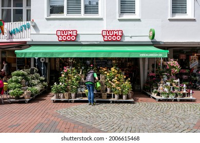 SCHLESWIG, GERMANY - JUNE 15, 2021: Blume 2000 flower shop