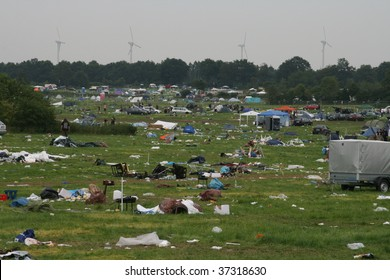 SCHLESWIG-HOLSTEIN, GERMANY - AUGUST 2: Camp site filled with litter after the Wacken Open Air, world's largest open air heavy metal music festival on August 2nd, 2009, in Schleswig-Holstein, Germany