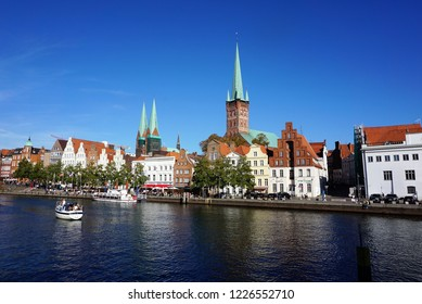 Lübeck, Schleswig-Holstein, Germany, October 13, 2018. Scenic View across the River Trave to the old Part of Town