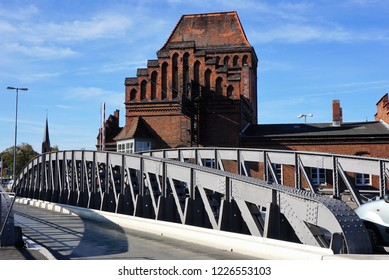 Lübeck, Schleswig-Holstein, Germany, October 13, 2018. Close Up of the Swing Bridge in Front of the Peter-Rehder-Haus