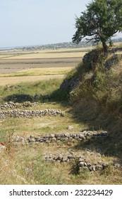 Schliemann trench, part of destructive first excavation of Troy, . Turkey