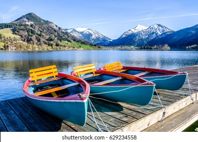 schliersee lake in bavaria - row boats