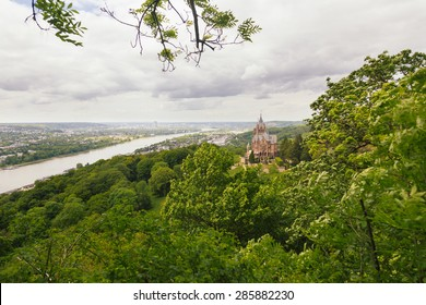 Schloss Drachenburg, Dragon Castle in english, with city of Bonn in background and all the Rhine valley.