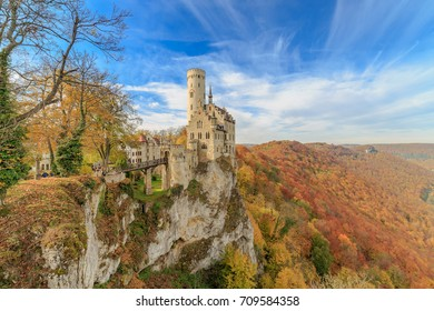 Schloss Lichtenstein Castle in autumn colors