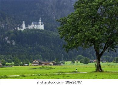Schloss Neuschwanstein Castle - The famous Schloss Neuschwanstein Castle in the German Alps, a Bavarian and German landmark of the finest.
