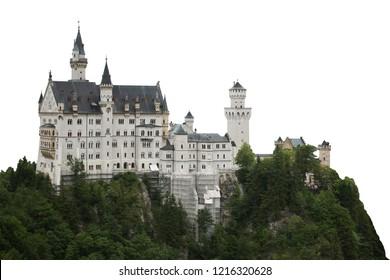 "Schloss Neuschwanstein (English: ""New Swanstone Castle""), southwest Bavaria, Germany. Isolated on white background."