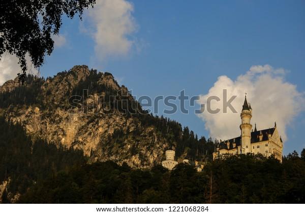 Schloss Neuschwanstein in Southern Germany; Historic Castle in the State of Bavaria; historic landmark