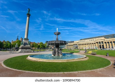 Schlossplatz (Castle square) with Fountains in Stuttgart City, Germany